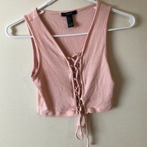 Pink Lace Up Crop Top